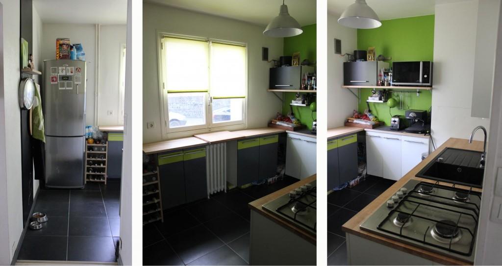 Cuisine mur vert pomme for Amenagement mur cuisine