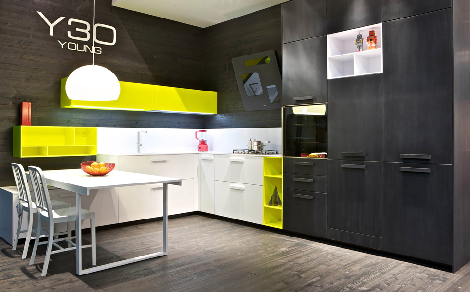 cuisine noir blanc jaune. Black Bedroom Furniture Sets. Home Design Ideas