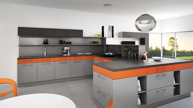 cuisine moderne noir et orange avec des. Black Bedroom Furniture Sets. Home Design Ideas