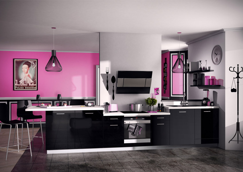 d co cuisine rose et noir. Black Bedroom Furniture Sets. Home Design Ideas