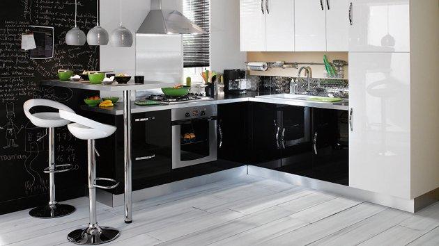 cuisine noir gris. Black Bedroom Furniture Sets. Home Design Ideas