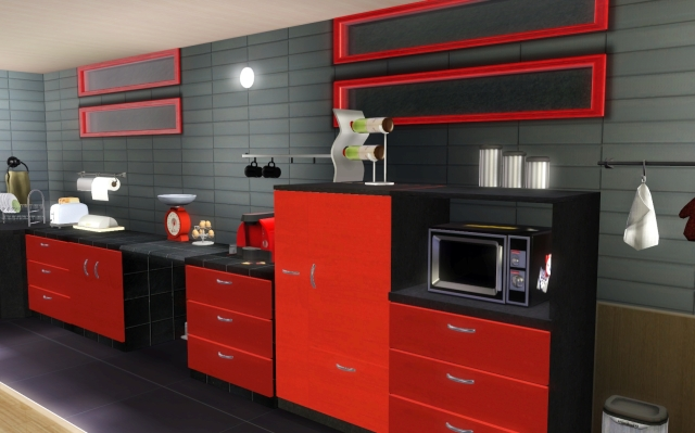 cuisine noir gris rouge. Black Bedroom Furniture Sets. Home Design Ideas