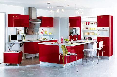 Cuisine noir rouge gris - Deco de cuisine rouge ...