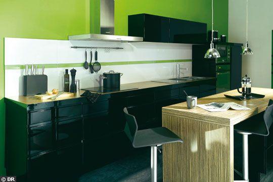 Photo cuisine noir vert