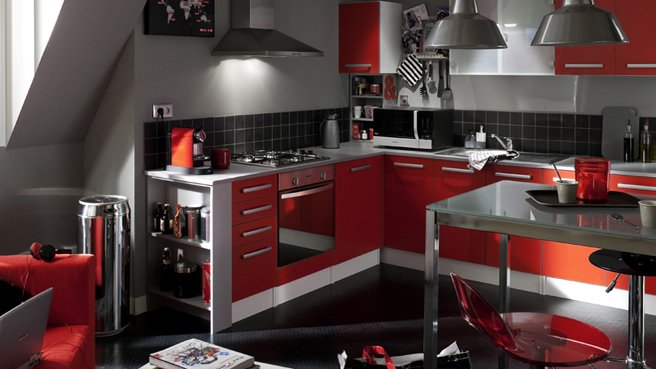cuisine rouge alinea. Black Bedroom Furniture Sets. Home Design Ideas