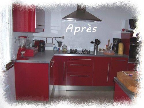 Cuisine rouge et grise ikea for Belle cuisine grise