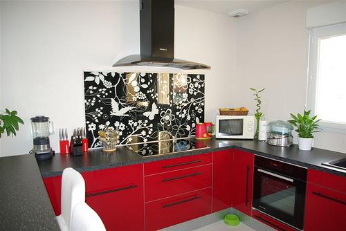 Jolie Cuisine Rouge Et Grise Ikea Photo Déco