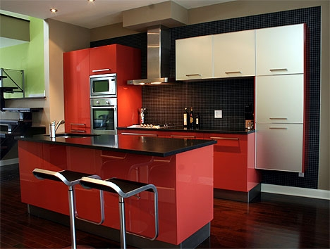 cuisine rouge et noire photos. Black Bedroom Furniture Sets. Home Design Ideas