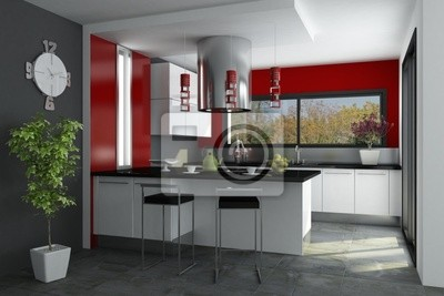 Best Cuisine Gris Et Blanc Rouge Ideas Design Trends With Stickers Cuisine  Rouge.