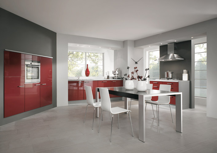 cuisine rouge grise et blanc. Black Bedroom Furniture Sets. Home Design Ideas