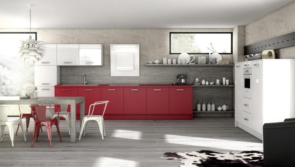 cuisine rouge mat. Black Bedroom Furniture Sets. Home Design Ideas