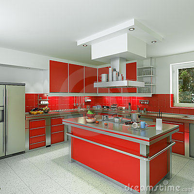 Cuisine rouge moderne for Amenagement cuisine moderne
