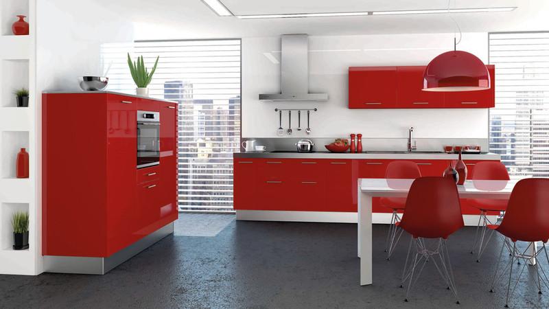 cuisine rouge moderne. Black Bedroom Furniture Sets. Home Design Ideas