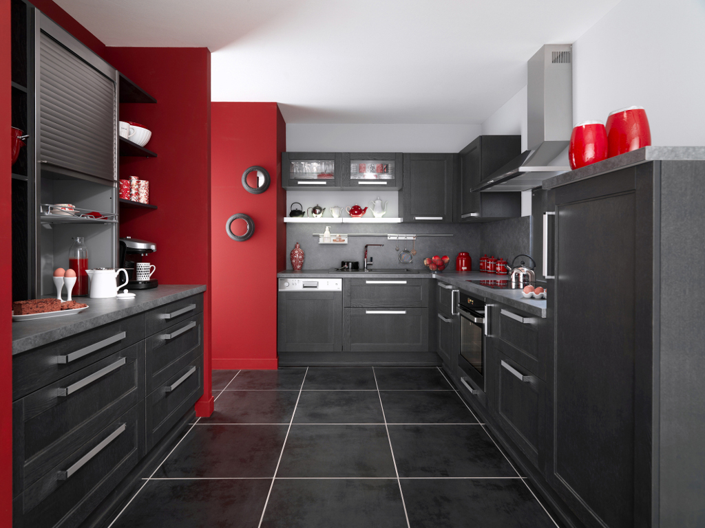 cuisine rouge mur noir. Black Bedroom Furniture Sets. Home Design Ideas