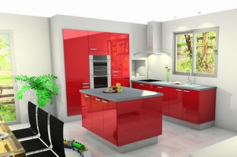 cuisine rouge promo. Black Bedroom Furniture Sets. Home Design Ideas