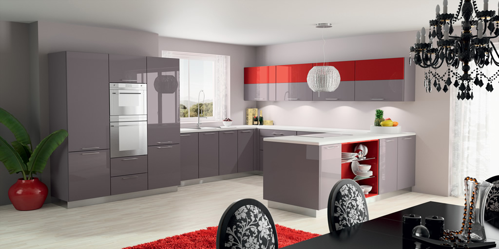 exemple cuisine rouge taupe