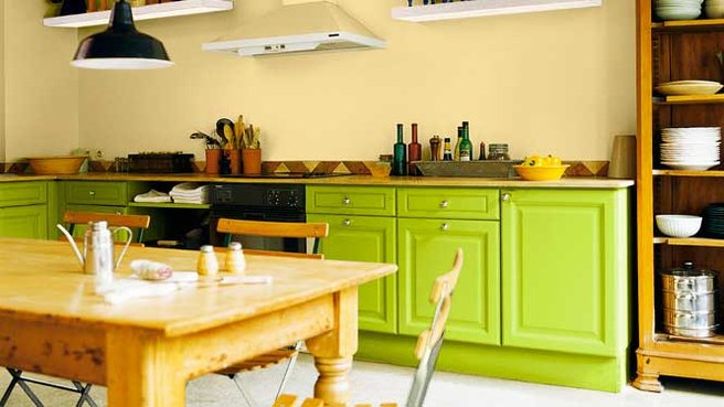 cuisine verte et jaune. Black Bedroom Furniture Sets. Home Design Ideas