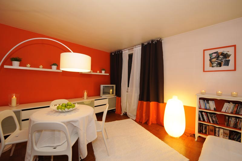 D co maison orange for Peinture chambre orange et gris
