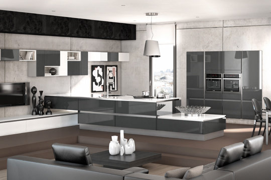 deco cuisine americaine salon. Black Bedroom Furniture Sets. Home Design Ideas