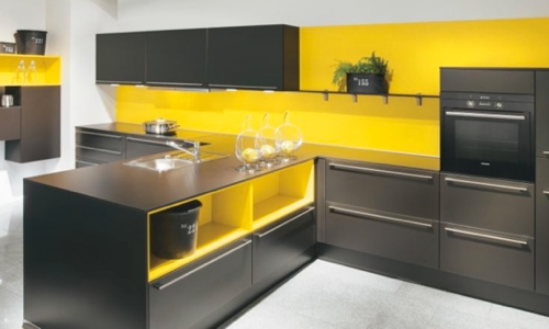 cuisine moderne jaune et gris pr l vement d. Black Bedroom Furniture Sets. Home Design Ideas