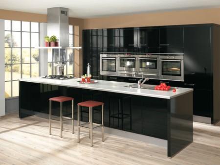 deco cuisine noire laquee. Black Bedroom Furniture Sets. Home Design Ideas