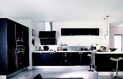 deco cuisine noire laquee. Black Bedroom Furniture Sets. Home Design Ideas