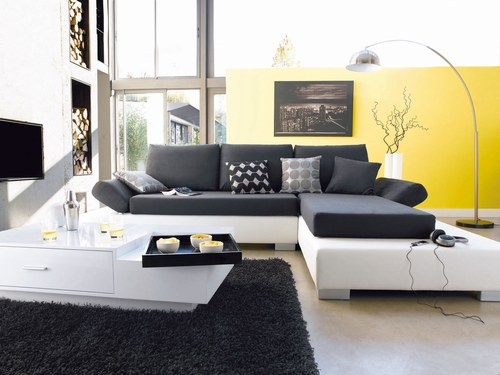 deco salon avec canape d 39 angle. Black Bedroom Furniture Sets. Home Design Ideas