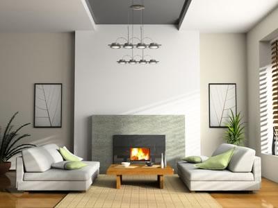 Photo deco salon avec foyer