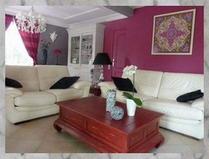 modèle deco salon gris et rose - Photo Déco