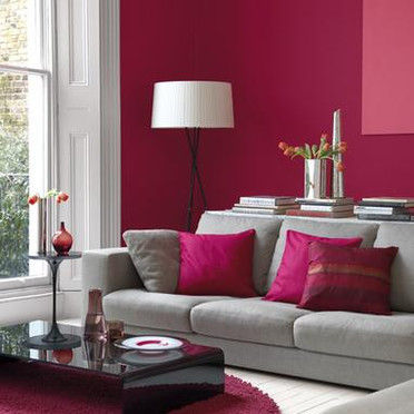 Deco salon gris framboise - Decoration salon framboise ...