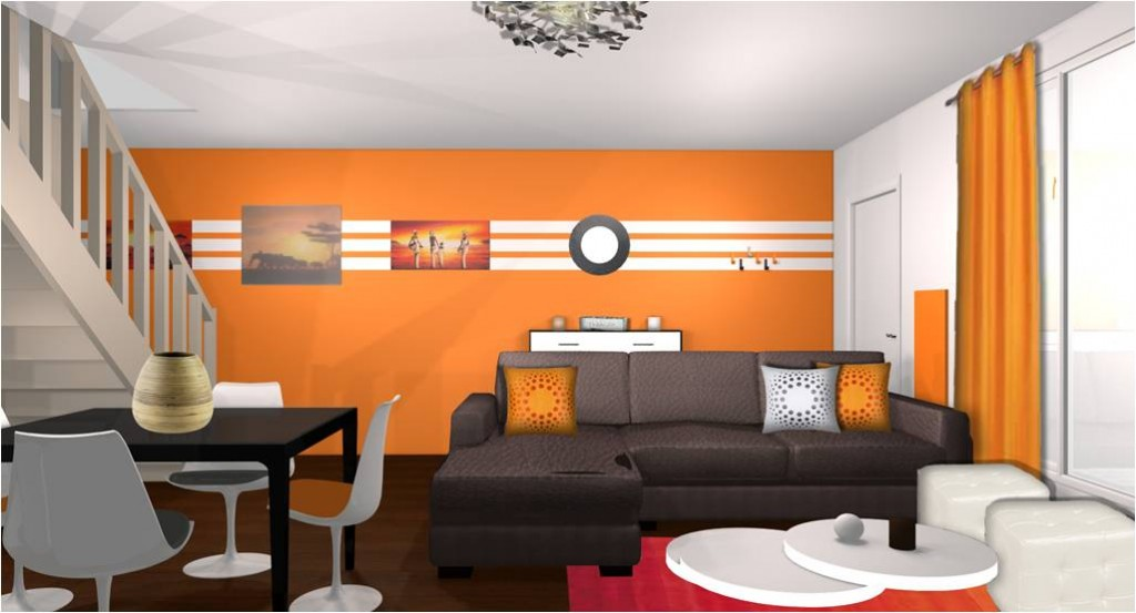 Deco salon orange for Photo deco salon
