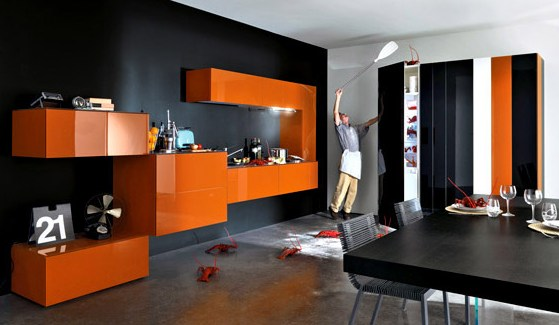 deco salon orange et gris. Black Bedroom Furniture Sets. Home Design Ideas
