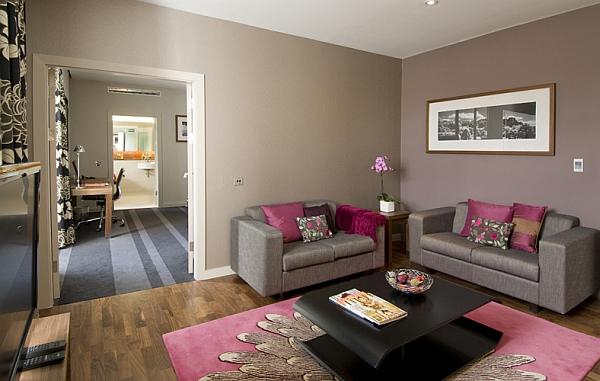 aménagement deco salon rose et gris - Photo Déco