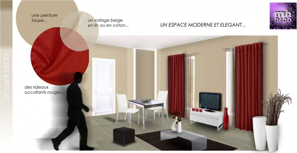 Deco Chambre Taupe Rouge : Déco salon rouge et taupe