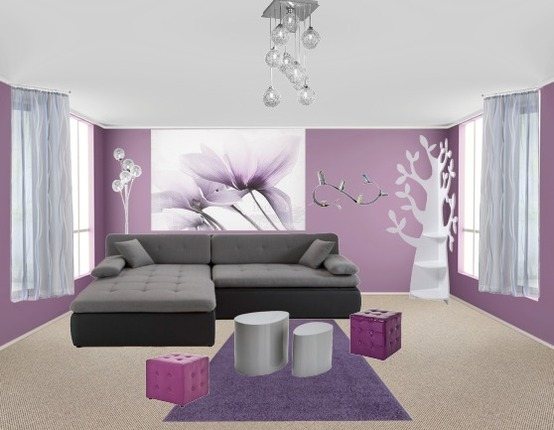 deco salon violet et gris. Black Bedroom Furniture Sets. Home Design Ideas