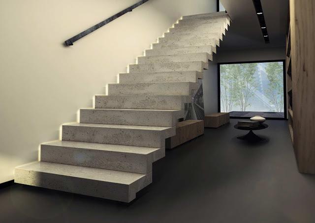 Decoration escalier beton interieur for Idee escalier interieur