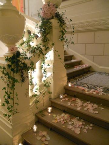 Decoration escalier exterieur mariage