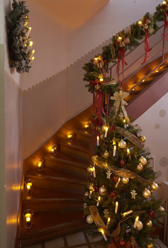 decoration rampe escalier noel