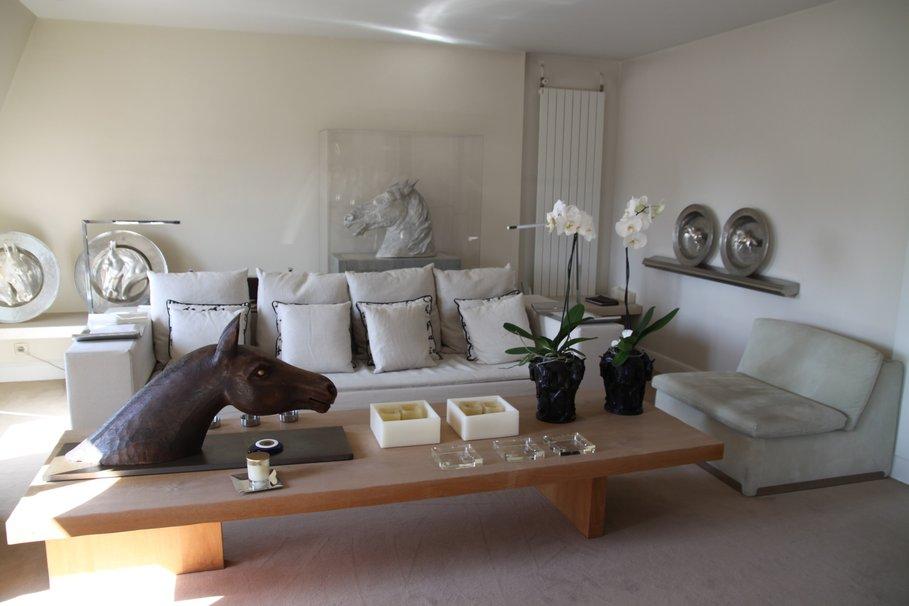 belle decoration salon gris et bois - Photo Déco