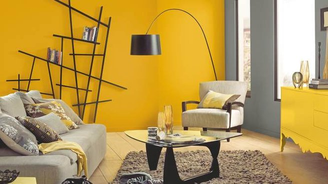 decoration salon mur jaune. Black Bedroom Furniture Sets. Home Design Ideas