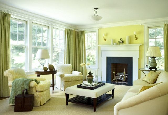 Decoration salon mur jaune for Casa design manzano
