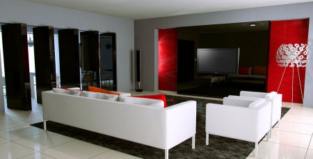 decoration salon rouge et blanc. Black Bedroom Furniture Sets. Home Design Ideas