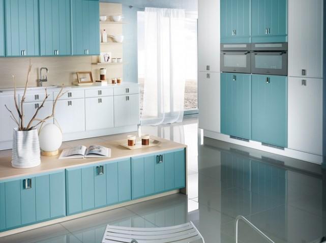 Photo cuisine bleu vert