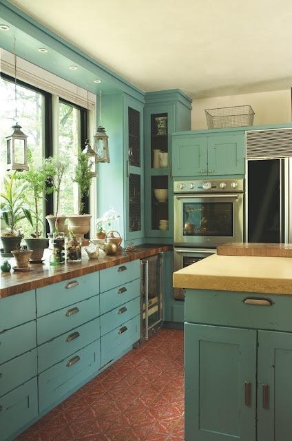 aménagement cuisine couleur vert d\'eau
