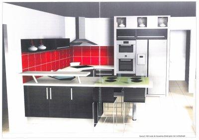 belle cuisine faience rouge - Photo Déco