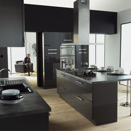 cuisine noir alinea. Black Bedroom Furniture Sets. Home Design Ideas