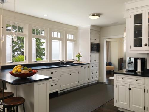 modèle cuisine noir avec carrelage gris