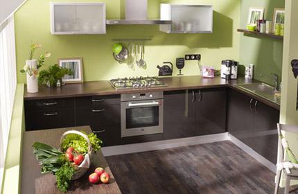 Cuisine noir et vert anis for Cuisine chocolat et vert anis