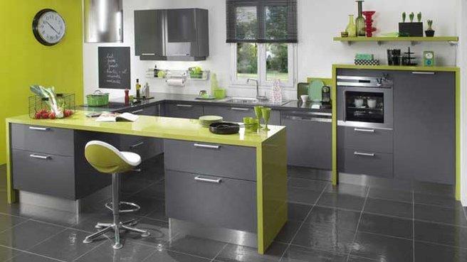 cuisine noir et vert pomme. Black Bedroom Furniture Sets. Home Design Ideas