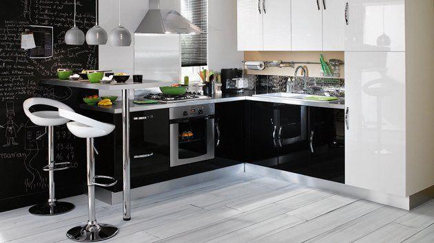 Porte De Chambre Castorama : modèle cuisine noir laque brico depot